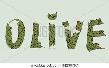 Olive Label - Text With The Pattern For The Oil Or Other Product