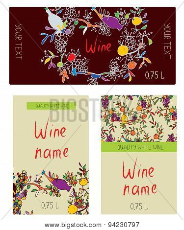 Wine Labels  Set - Funny Desig