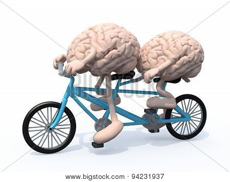Brains Riding Tandem Bicycle