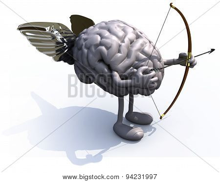 Brain With Arms, Legs, Wings, Bow And Arrow