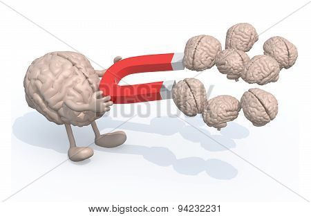 Brain With Arms, Legs And Magnet On Hands, Catch Many Other Brains