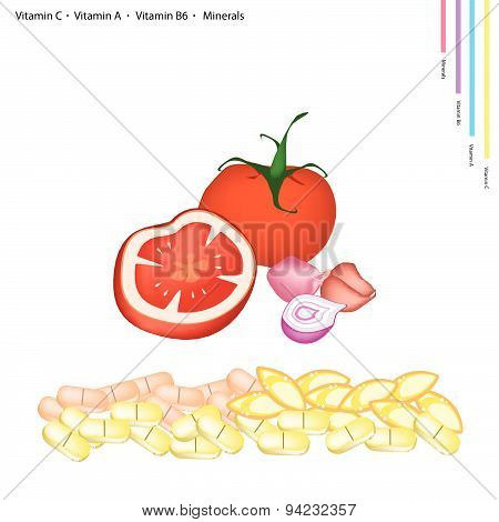 Tomatoes And Shallot With Vitamin C, A And B6
