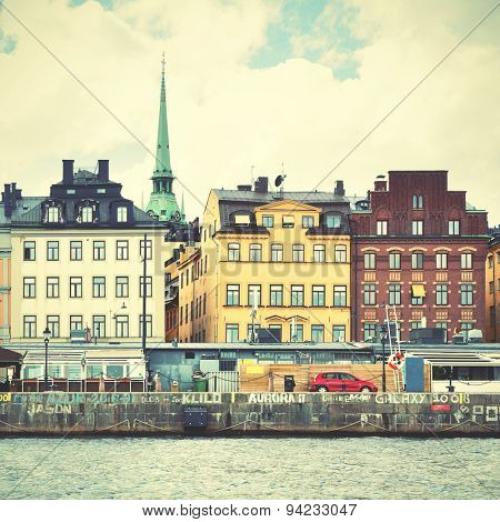View of Stockholm. Retro style filtred image