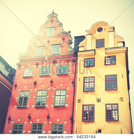 Old houses on Stortorget square, Stockholm, Sweden. Retro style filtred image