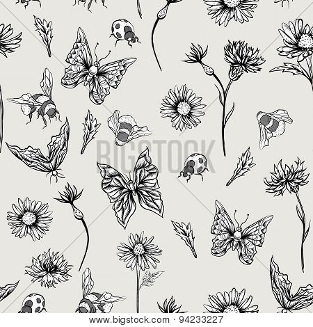 Summer Monochrome Vintage Floral Seamless Pattern with Blooming Chamomiles
