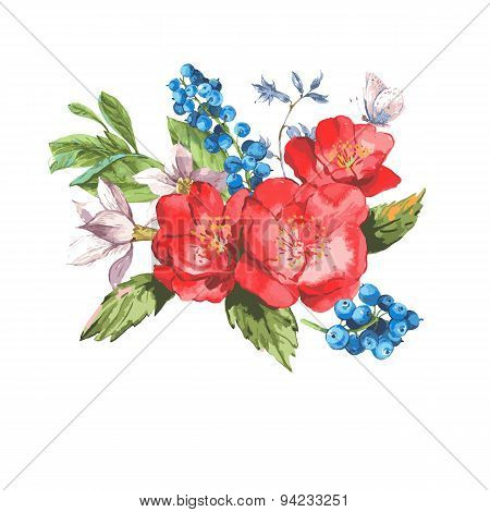 Vintage Watercolor Greeting Card with Blooming Flowers.