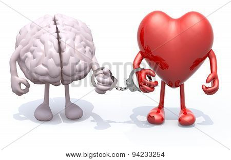 Brain And Heart With Arms And Legs Linked By Handcuffs On Hand
