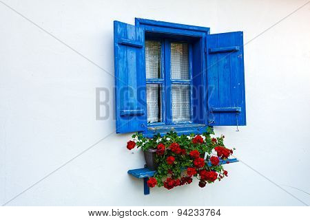 Blue Door And Window On Old House