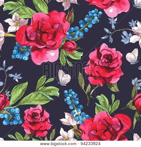 Seamless Watercolor Background with Blooming Red Roses and Blueberries
