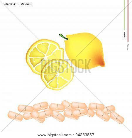 Ripe Lemon With Vitamin C On White Background