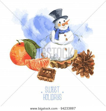 Christmas Watercolor New Year card with Snowman Cupcakes
