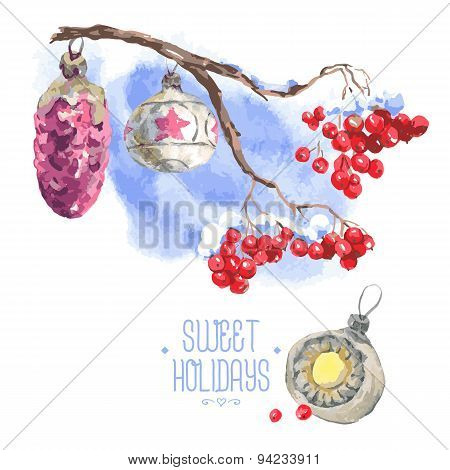 Watercolor vintage invitation card with Christmas balls and snow-covered twig rowan