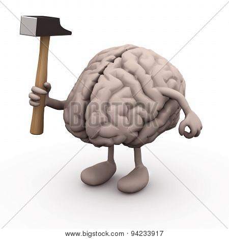 Human Brain With Arms And Legs And Hammer On Hand,