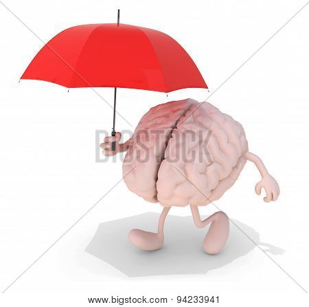 Brain With Red Umbrella