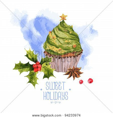 Watercolor Christmas vintage invitation card with cupcakes holly and cinnamon