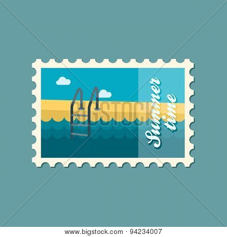 Swimming Pool Flat Stamp, Summertime