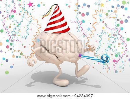 Brain With Arms, Legs, Party Cap And Blowers