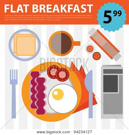 Vector retro flat breakfast eggs and bacon