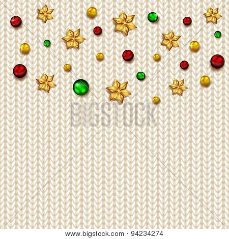 White Knitted Pattern With Balls