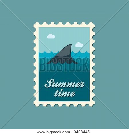 Shark Fin Flat Stamp, Summertime