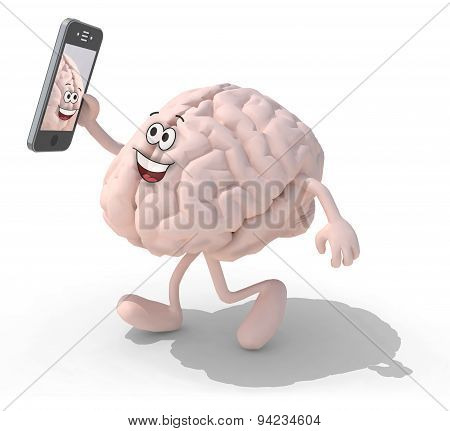 Brain Cartoon Take A Self Portrait With Her Smart Phone
