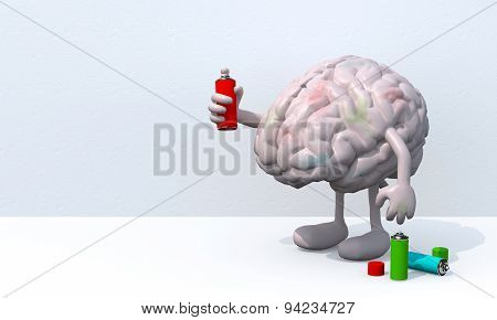 Brain With Arms, Legs And Spray Can In Hand
