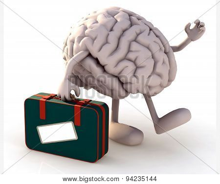 Brain With Arms And Legs That Take A Suitcase