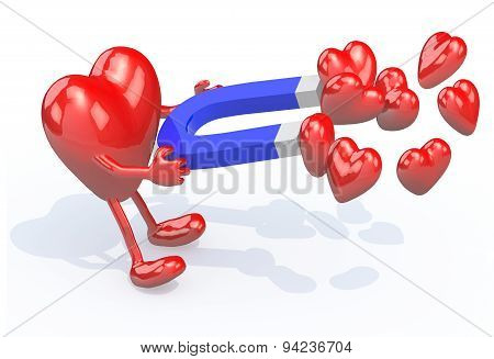 Heart With Arms, Legs And Magnet On Hands