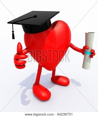 Heart With Arms And Legs, Graduation Cap And Diploma