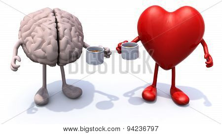 Human Brain And Heart With Arms And Legs And Cup Of Coffee