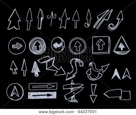 Hand-drawn arrow symbols collection. Raster version