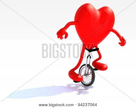 Heart With Arms And Legs Rides A Unicycle