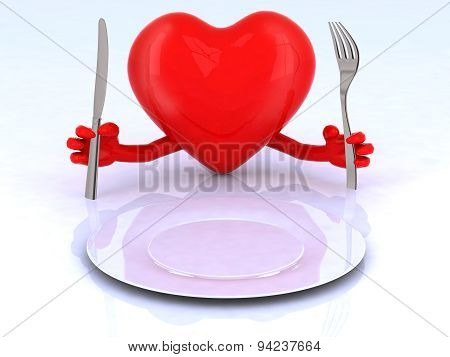Red Heart With Hands And Utensils