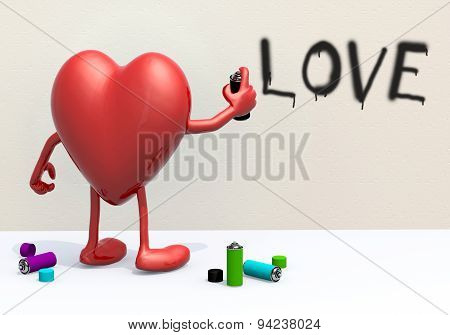 Heart With Arms, Legs And Spray Can In Hand