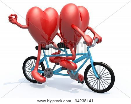 Two Hearts Riding Tandem Bicycle