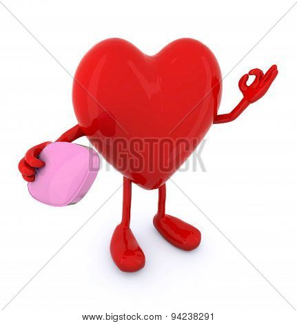 Heart With Big Pink Pill On Hand