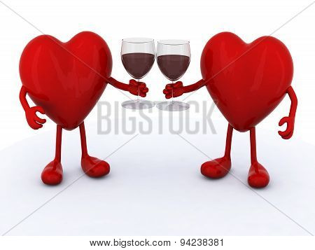 Two Hearts With Glass Of Red Wine