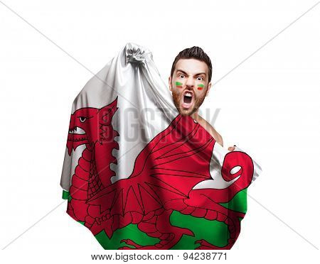 Fan holding the flag of Wales on white background