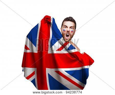 Fan holding the flag of UK on white background