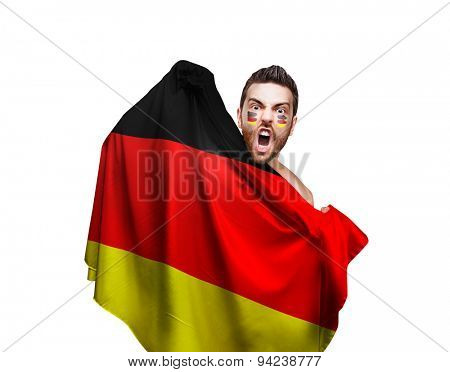 Fan holding the flag of Germany on white background