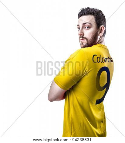 Colombian soccer player on white background