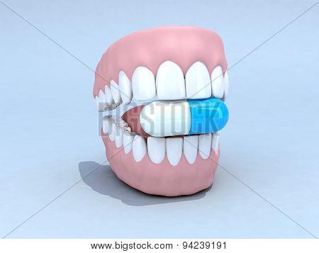 Open Denture With Pill