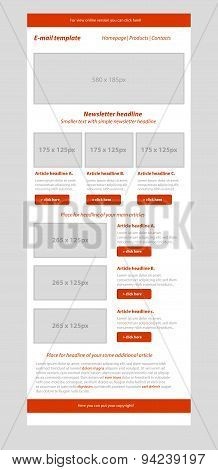 Newsletter Red Template With Business Style