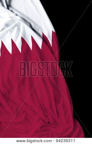 Qatar waving flag on black background