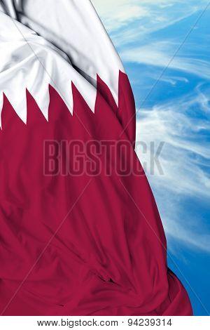 Qatar waving flag on a beautiful day