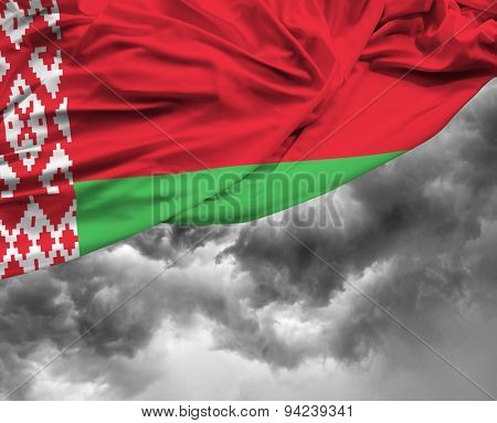 Belarus waving flag on a bad day