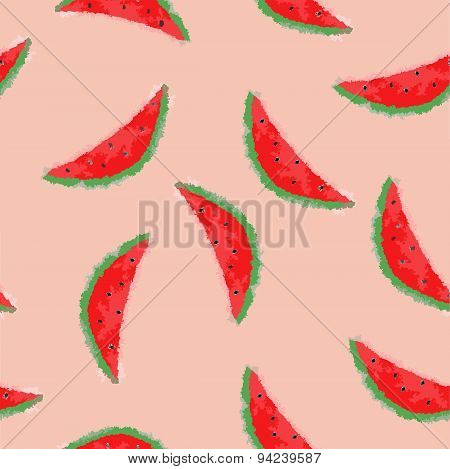 Vector watermelon background in blurred style, seamless pattern