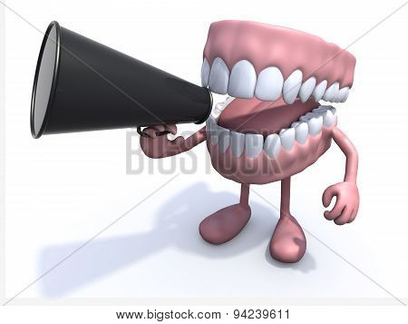 Open Denture Cartoon With Arms, Legs And Megaphone