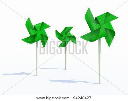 Three Green Pinwheel