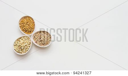 Cereals Collection On White Background.